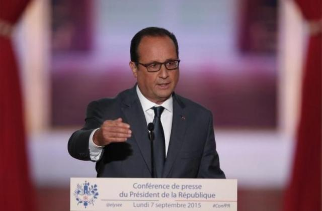 French President Francois Hollande speaks at a news conference in Paris, France, September 7, 2015.  Photo: Reuters
