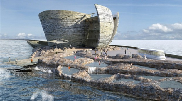 A rendering of the planned first ever artificial tidal lagoon power plant in the U.K. City Lab