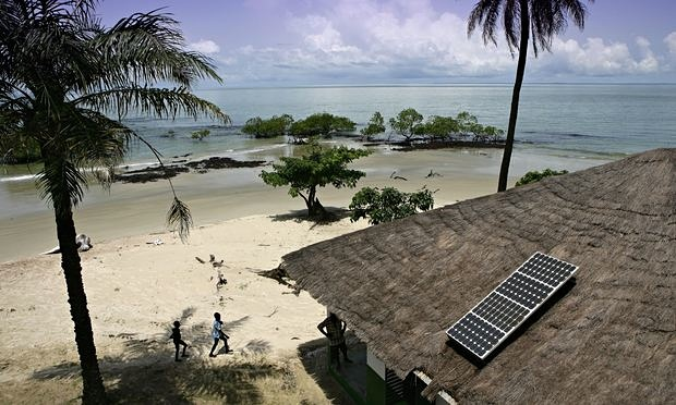 """""""A solar panel on a roof in Guinea-Bissau. Sub-Saharan Africa has some of the world's most abundant and least exploited renewable energy sources, especially solar power."""" The Guardian"""
